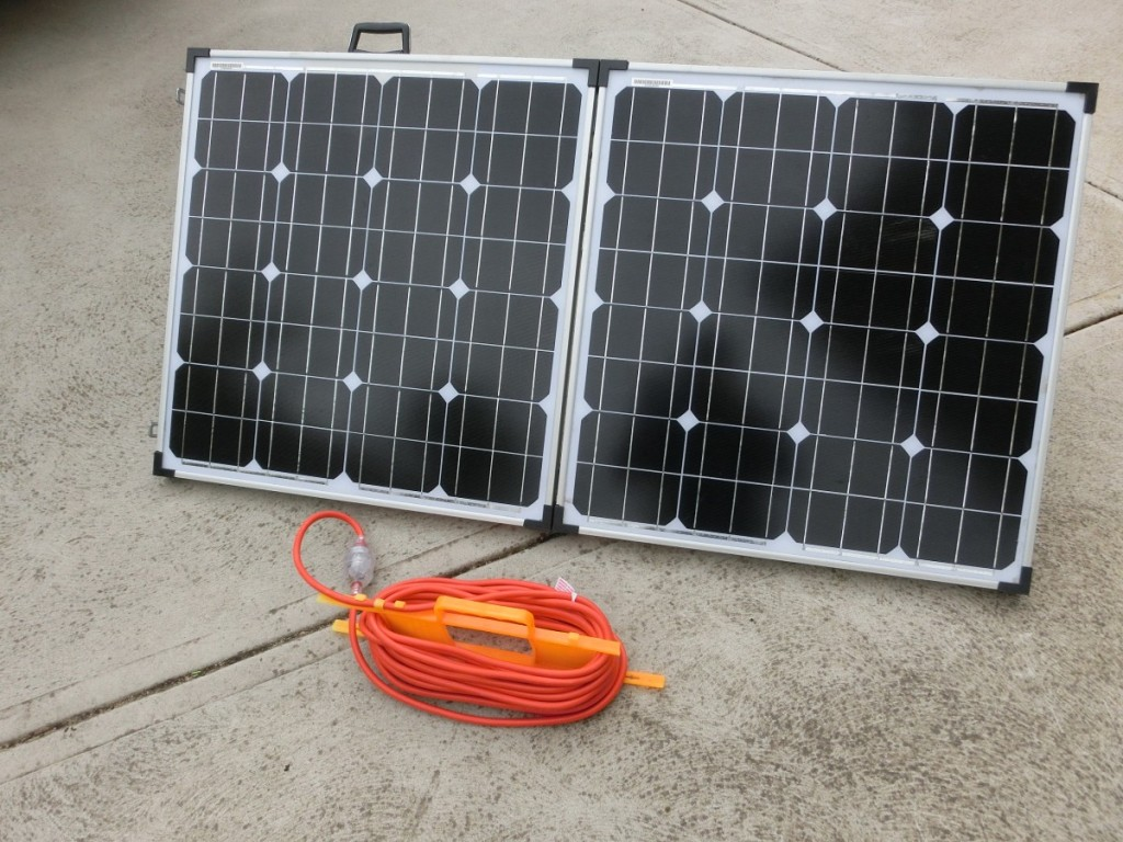 Our 140W folded portable solar panels.
