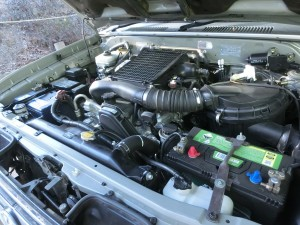 An overview of a diesel Prado engine bay.